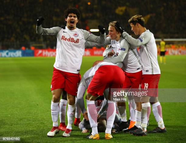 Andre Ramalho of Red Bull Salzburg and team mates celebrate as Valon Berisha of Red Bull Salzburg scores their second goal during the UEFA Europa...