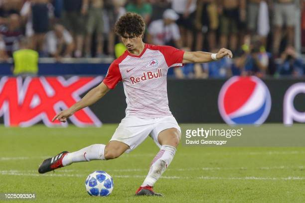Andre Ramalho of Salzburg kicks the ball during the UEFA Champions League match between FC Salzburg and Red Star Belgrade at Red Bull Arena on August...