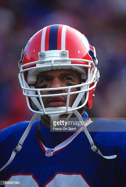 Andre Reed of the Buffalo Bills looks on against the Denver Broncos during the AFC/NFL Conference Championship Playoff game at Rich Stadium January...