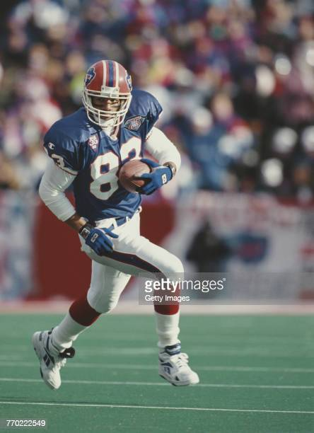 Andre Reed Wide Receiver for the Buffalo Bills runs the ball during the American Football Conference East game against the Minnesota Vikings on 11...