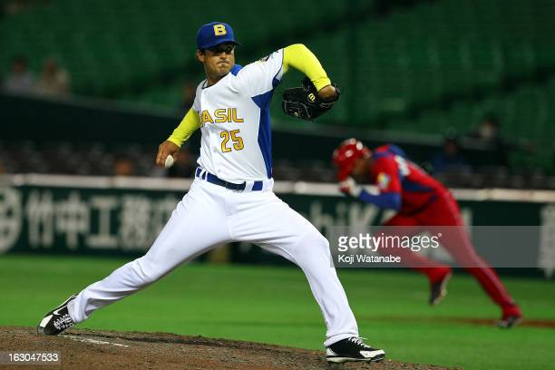 Andre Rienzo of Brazil in action during the World Baseball Classic First Round Group A game between Brazil and Cuba at Fukuoka Yahoo Japan Dome on...