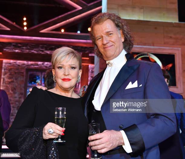 Andre Rieu and Angelika Milster pose at the tv show 'Heiligabend mit Carmen Nebel' on November 29 2017 in Munich Germany The show will be aired on...