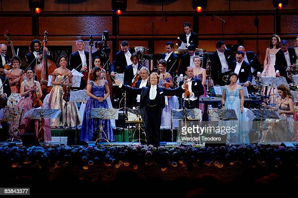 Andre Rieu and his orchestra perform on stage at ANZ Stadium on November 27, 2008 in Sydney, Australia.
