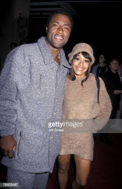 Andre Rison and Lisa Left Eye Lopes of TLC at the Beverly Hilton Hotel in Beverly Hills California