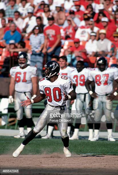 Andre Rison of the Atlanta Falcons in action against the San Francisco 49ers during an NFL Football game September 23 1990 at Candlestick Park in San...