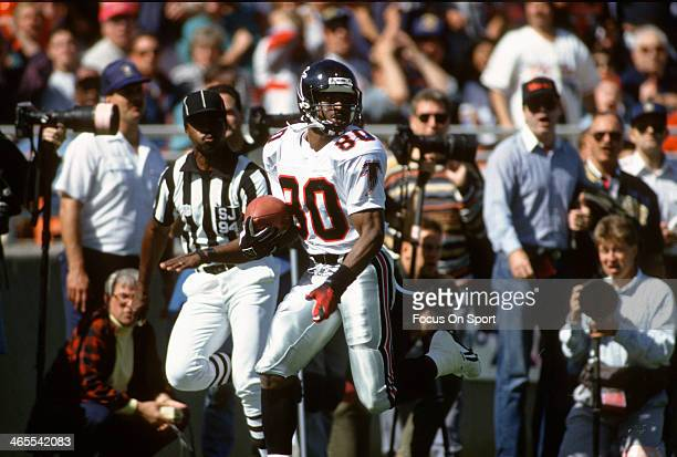 Andre Rison of the Atlanta Falcons runs with the ball during an NFL Football game circa 1992 Rison played for the Falcons from 199094