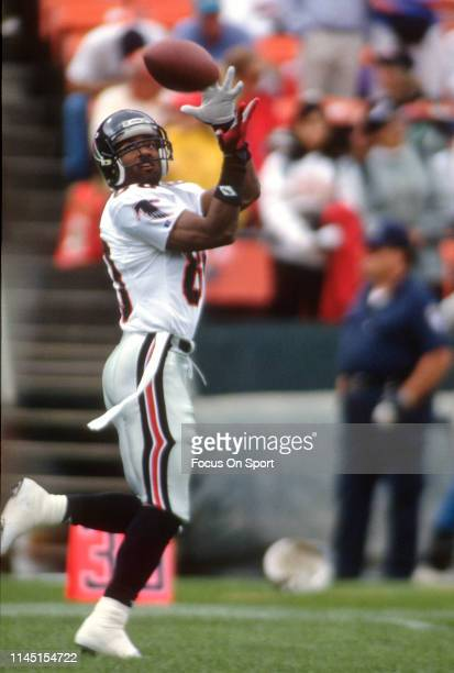 Andre Rison of the Atlanta Falcons warms up prior to the start of an NFL Football game against the San Francisco 49ers October 18 1992 at Candlestick...