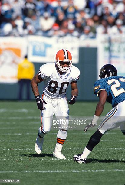 Andre Rison of the Cleveland Browns in action against the Jacksonville Jaguars during an NFL Football game October 22 1995 at Cleveland Municipal...