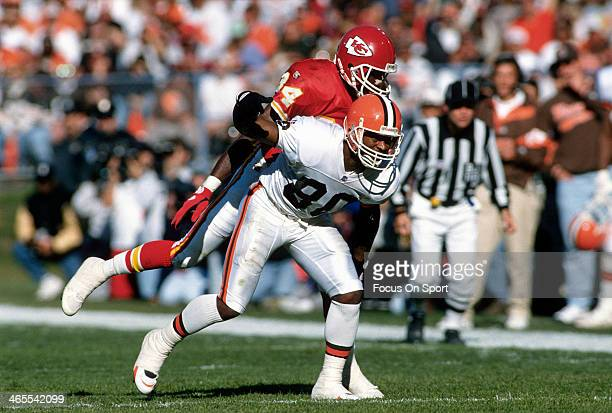 Andre Rison of the Cleveland Browns in action against the Kansas City Chiefs during an NFL Football game September 24 1995 at Cleveland Municipal...