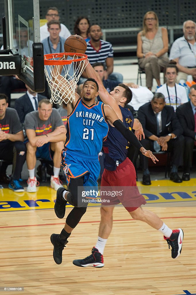 Andre Roberson, #21 of Oklahoma City Thunder in action during the NBA Global Games Spain 2016 FC Barcelona Lassa v Oklahoma City Thunder at Palau Sant Jordi on October 5, 2016 in Barcelona, Spain.