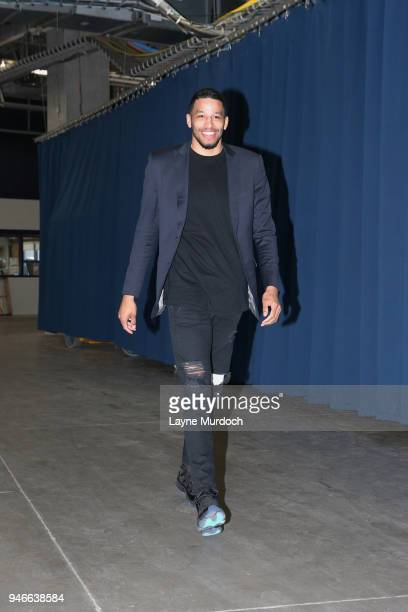 Andre Roberson of the Oklahoma City Thunder arrives before the game against the Utah Jazz during Game One of Round One of the 2018 NBA Playoffs on...