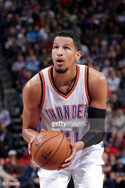 Andre Roberson of the Oklahoma City Thunder attempts a free throw shot against the Sacramento Kings on November 23 2016 at Golden 1 Center in...