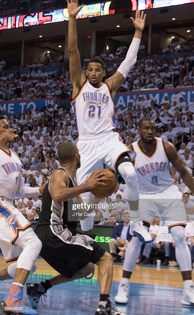 bafae910b255 Andre Roberson of the Oklahoma City Thunder blocks Tony Parker of ...