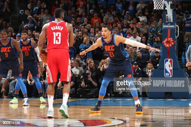 Andre Roberson of the Oklahoma City Thunder defends during the game against the Houston Rockets on December 25 2017 at Chesapeake Energy Arena in...