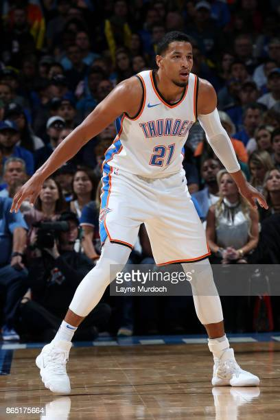 Andre Roberson of the Oklahoma City Thunder defends his position during the game against the Minnesota Timberwolves on October 22 2017 at Chesapeake...