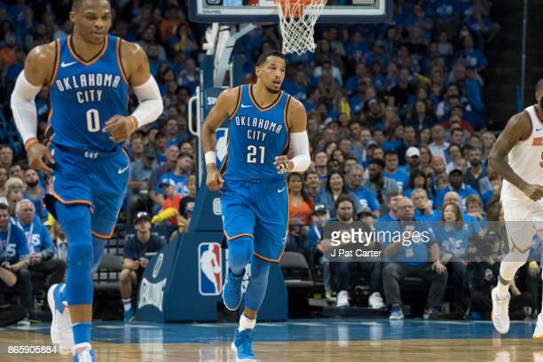 Andre Roberson of the Oklahoma City Thunder during the second half of a NBA game at the Chesapeake Energy Arena on October 19 2017 in Oklahoma City...