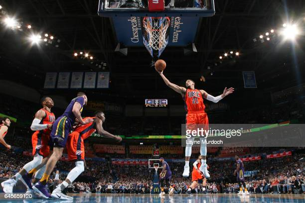 Andre Roberson of the Oklahoma City Thunder grabs the rebound against the New Orleans Pelicans on February 26 2017 at the Chesapeake Energy Arena in...