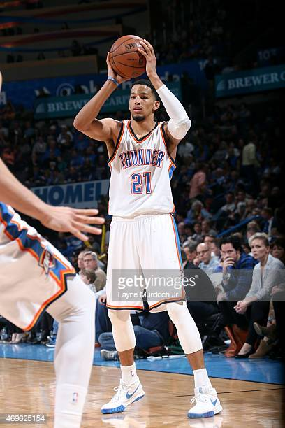 Andre Roberson of the Oklahoma City Thunder handles the ball against the Portland Trail Blazers on April 13 2015 at Chesapeake Energy Arena in...