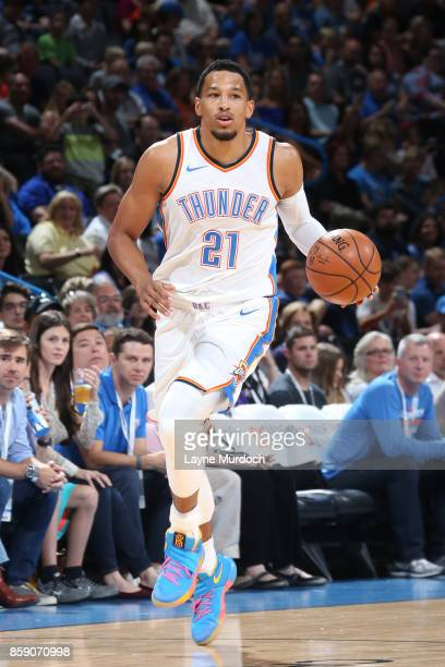 Andre Roberson of the Oklahoma City Thunder handles the ball against the Melbourne United during the preseason game on October 8 2017 at Chesapeake...