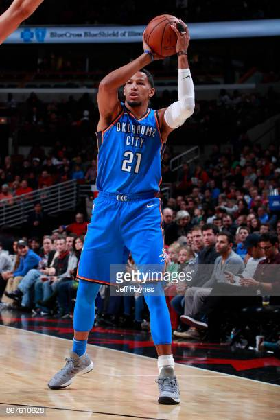 Andre Roberson of the Oklahoma City Thunder handles the ball against the Chicago Bulls on October 28 2017 at the United Center in Chicago Illinois...