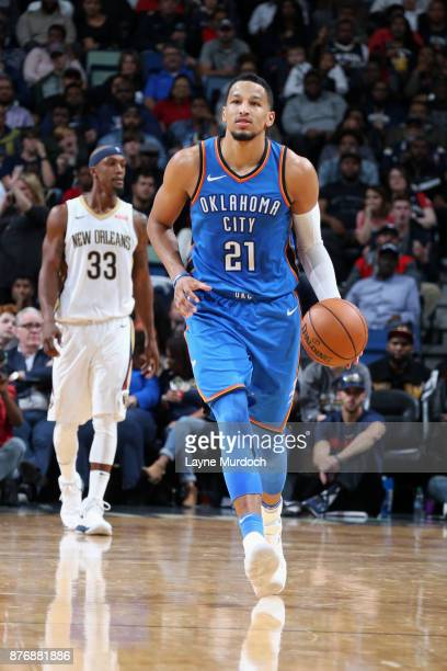 Andre Roberson of the Oklahoma City Thunder handles the ball against the New Orleans Pelicans on November 20 2017 at the Smoothie King Center in New...