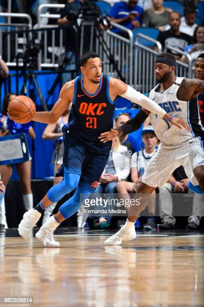 Andre Roberson of the Oklahoma City Thunder handles the ball against the Orlando Magic on November 29 2017 at Amway Center in Orlando Florida NOTE TO...
