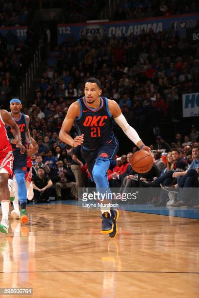 Andre Roberson of the Oklahoma City Thunder handles the ball against the Houston Rockets on December 25 2017 at Chesapeake Energy Arena in Oklahoma...