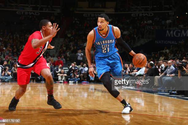 Andre Roberson of the Oklahoma City Thunder handles the ball during a game against the Washington Wizards on February 13 2017 at Verizon Center in...