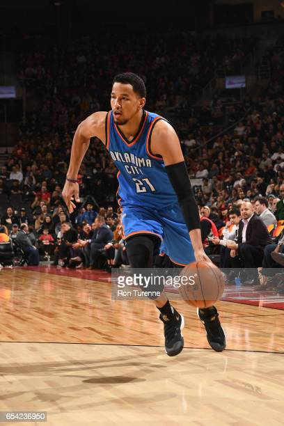 Andre Roberson of the Oklahoma City Thunder handles the ball during a game against the Toronto Raptors on March 16 2017 at the Air Canada Centre in...