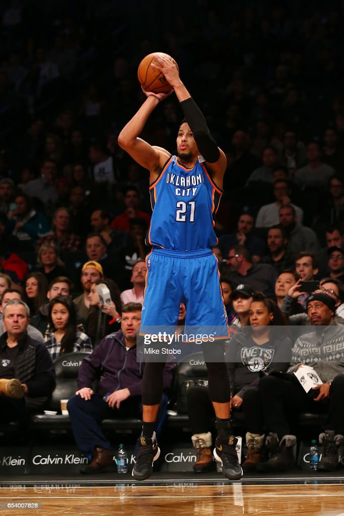 Andre Roberson #21 of the Oklahoma City Thunder in action against the Brooklyn Nets at Barclays Center on March 14, 2017 in New York City.