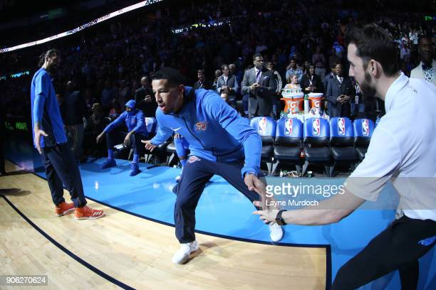 Andre Roberson of the Oklahoma City Thunder makes his entrance before the game against the Los Angeles Lakers on January 17 2018 at Chesapeake Energy...