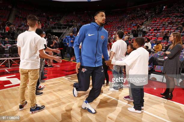 Andre Roberson of the Oklahoma City Thunder makes his entrance before the game against the Detroit Pistons on January 27 2018 at Little Caesars Arena...