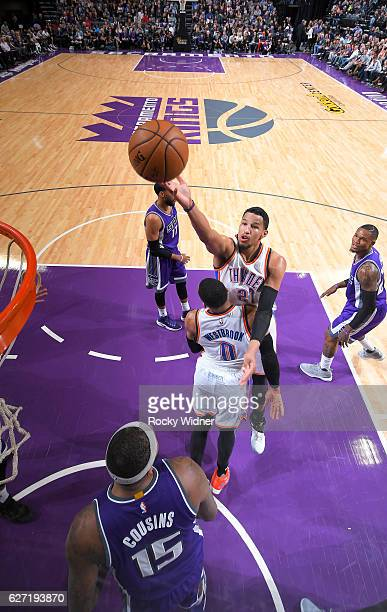 Andre Roberson of the Oklahoma City Thunder puts up a shot against the Sacramento Kings on November 23 2016 at Golden 1 Center in Sacramento...