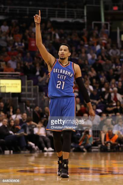 Andre Roberson of the Oklahoma City Thunder reacts during the second half of the NBA game against the Phoenix Suns at Talking Stick Resort Arena on...