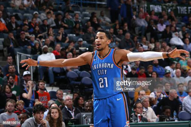 Andre Roberson of the Oklahoma City Thunder reacts to a play against the Milwaukee Bucks on October 31 2017 at the BMO Harris Bradley Center in...