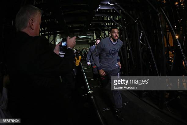 Andre Roberson of the Oklahoma City Thunder runs out before Game Five of the Western Conference Finals against the Golden State Warriors during the...