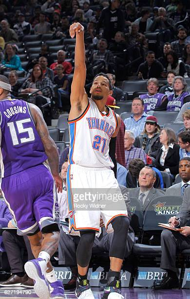 Andre Roberson of the Oklahoma City Thunder shoots a three pointer against the Sacramento Kings on November 23 2016 at Golden 1 Center in Sacramento...