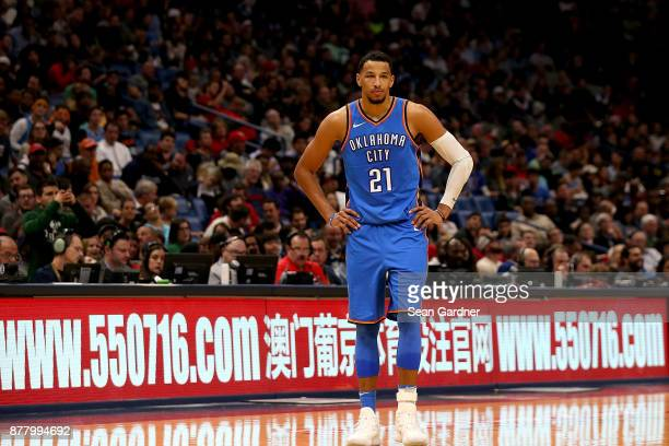 Andre Roberson of the Oklahoma City Thunder stands in front of a www550716com sign during a NBA game against the New Orleans Pelicans at the Smoothie...