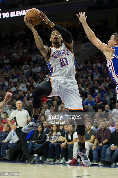 Andre Roberson of the Oklahoma City Thunder takes a shot against the Philadelphia 76ers at Wells Fargo Center on October 26 2016 in Philadelphia...