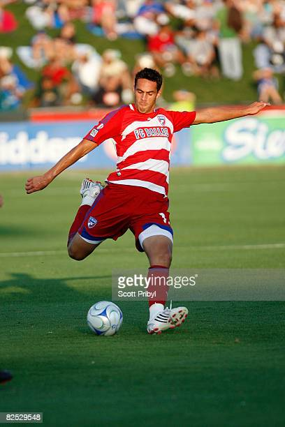 Andre Rocha of FC Dallas shoots the ball against the Kansas City Wizards and scores the first goal during the game at Community America Ballpark on...
