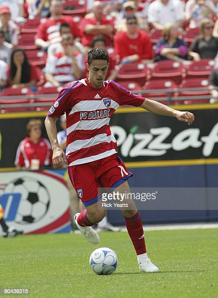Andre Rocha of the FC Dallas takes control of the ball as seen during the match between Chivas USA and FC Dallas at Pizza Hut Park on March 30 2008...