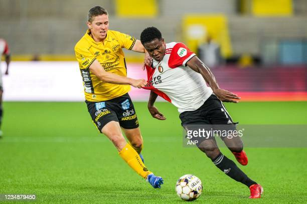 Andre Romer of Elfsborg, Luis Sinisterra of Feyenoord during the UEFA Conference League play-offs match between IF Elfsborg and Feyenoord at Boras...