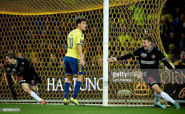 Andre Romer of FC Midtjylland and Patrick Banggaard of FC Midtjylland celebrate after scoring their first goal during the Danish Alka Superliga match...