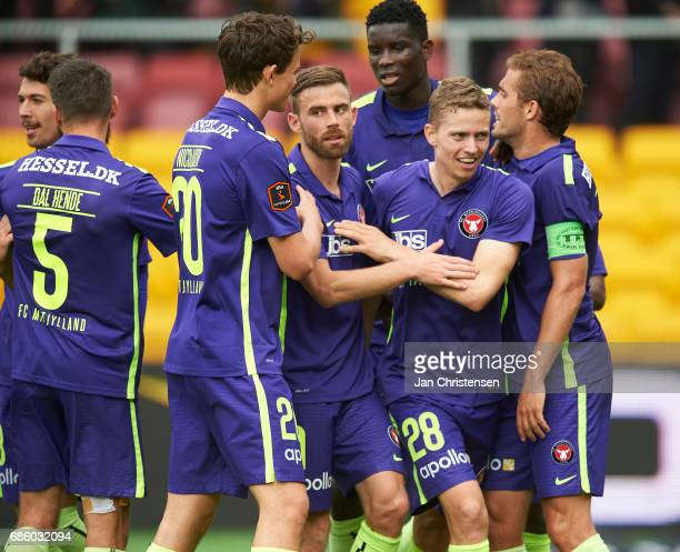 Andre Romer of FC Midtjylland and teammates celebrate his 30 goal during the Danish Alka Superliga match between FC Nordsjalland and FC Midtjylland...