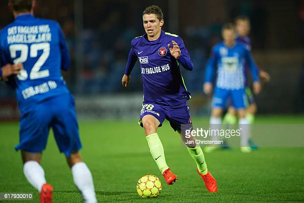 Andre Romer of FC Midtjylland controls the ball during the Danish Alka Superliga match between Esbjerg fB and FC Midtjylland at Blue Water Arena on...