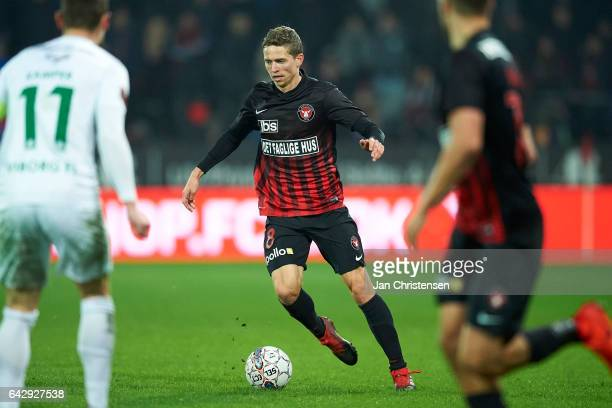 Andre Romer of FC Midtjylland controls the ball during the Danish Alka Superliga match between FC Midtjylland and Viborg FF at MCH Arena on February...