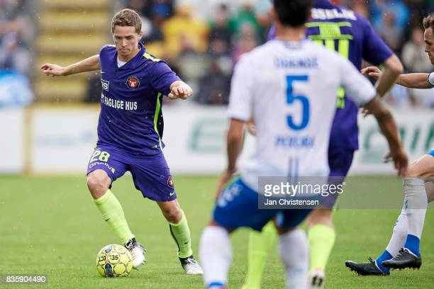 Andre Romer of FC Midtjylland controls the ball during the Danish Alka Superliga match between OB Odense and FC Midtjylland at TREFOR Park on August...