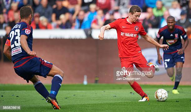 Andre Romer of FC Midtjylland in action during the UEFA Europa League match between FC Midtjylland and Videoton FC at MCH Arena on August 04 2016 in...