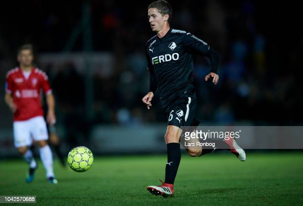 Andre Romer of Randers FC controls the ball during the Danish Superliga match between Vejle Boldklub and Randers FC at Vejle Stadion on September 28...