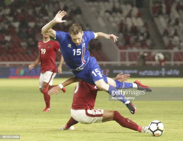 Andre Runnar Bjarnasson of Iceland in action during a friendly match between Indonesia National Team and Icelandic National Team at The Gelora Bung...